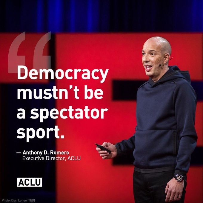 ACLU Executive Director Anthony D. Romero's @TedTalks makes call to action to protect our democracy.
