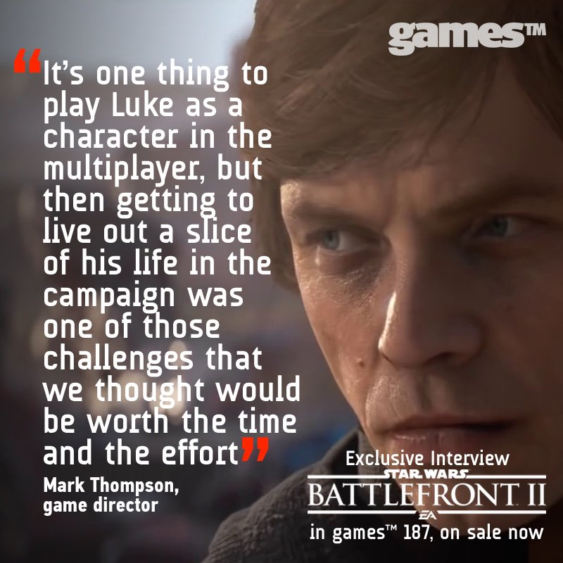 Find out how Motive is helping to shape the story of Luke Skywalker in games™ 187 @EAStarWars #Battlefront2  https://www. gamestm.co.uk/promotion/suns -out-guns-out-for-splatoon-2-in-games-187/ &nbsp; … <br>http://pic.twitter.com/SIKMYuJ1Gs