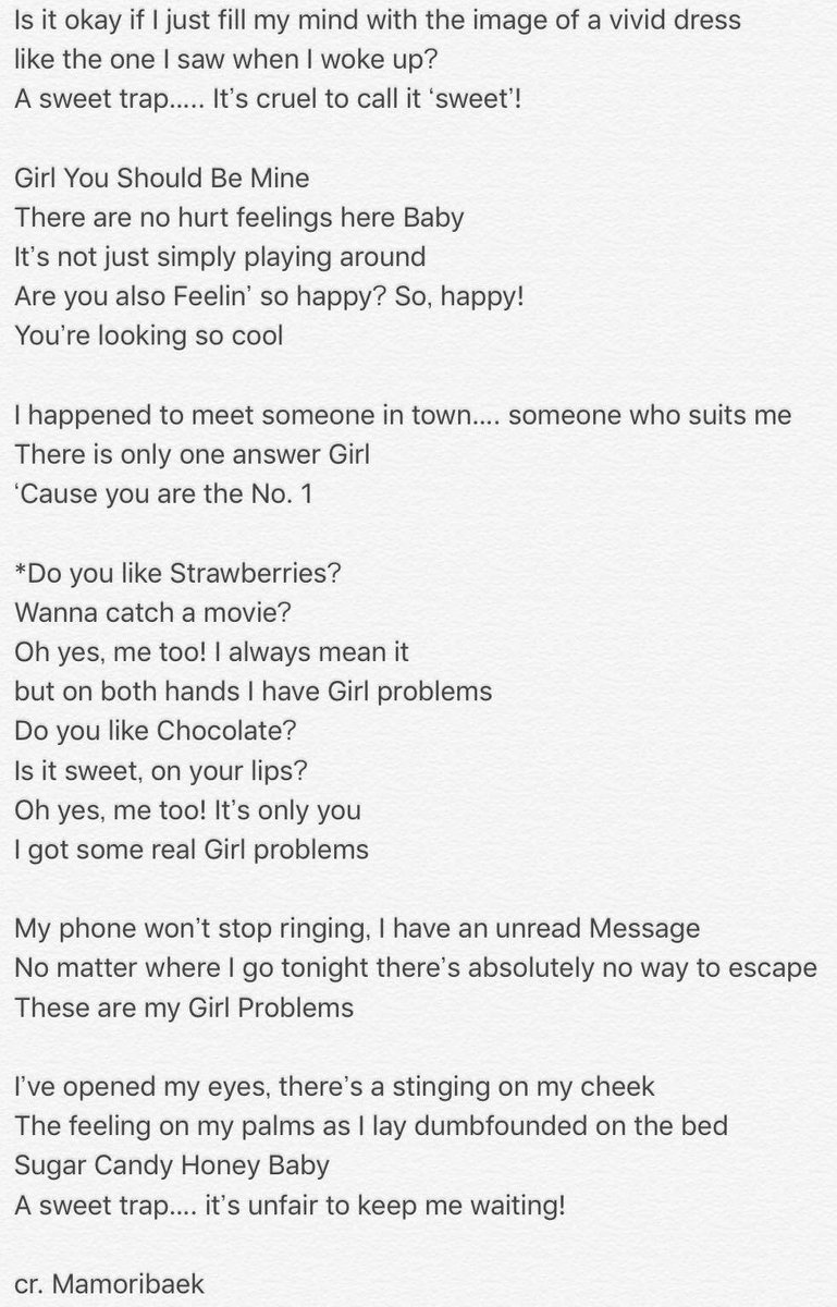 [英訳] Revised English translation for Girl Problems by #EXO-CBX! Ahhh of course I caught mistakes now #cbx <br>http://pic.twitter.com/7z9t26VDxG