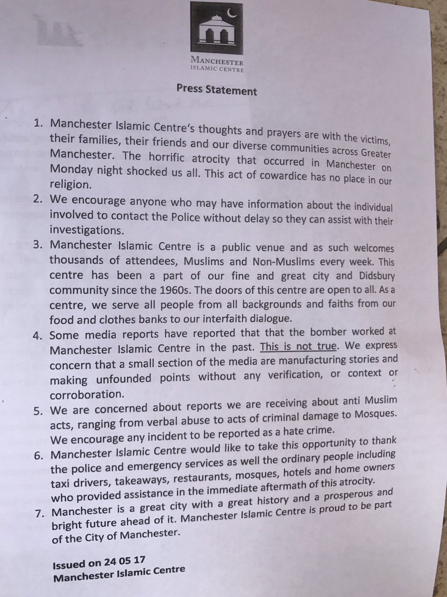 The full statement from Didsbury mosque is here btw #manchesterattack