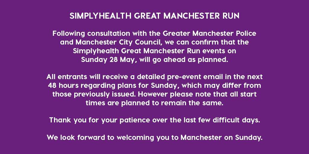 Announcement regarding Simplyhealth Great Manchester Run. https://t.co/mEEVPbED7L
