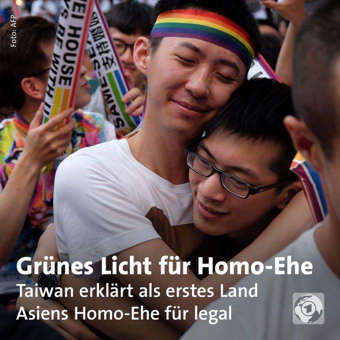 #Taiwan hat als erstes Land Asiens die Homo-Ehe für legal erklärt.