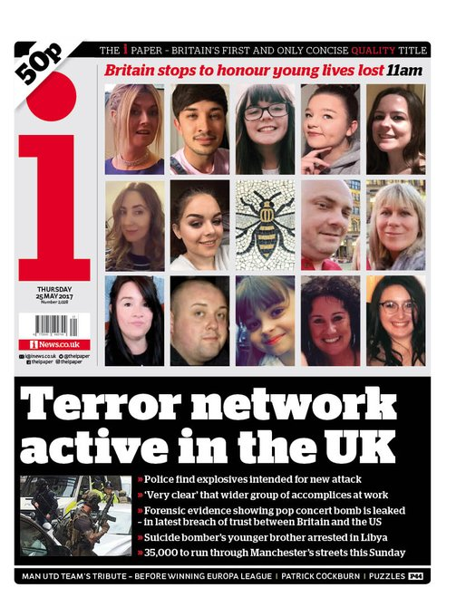 THE I FRONT PAGE: 'Terror network active in the UK' #skypapers