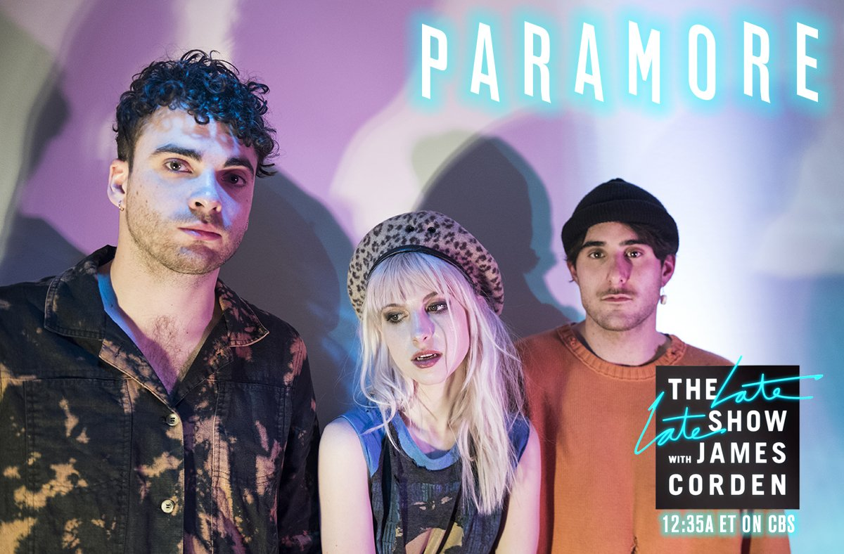 Don't forget to tune in tonight to catch @paramore's performance on @latelateshow at 12:35am ET on CBS! https://t.co/L9xBp0JLgH