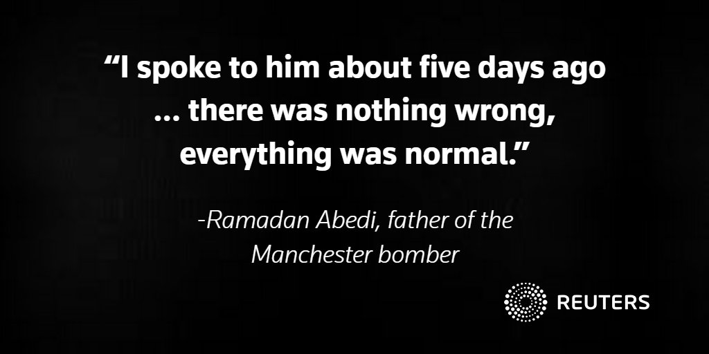 Father of Manchester bomber tells Reuters his son was not a member of Islamic State https://t.co/oakCH7yDlA