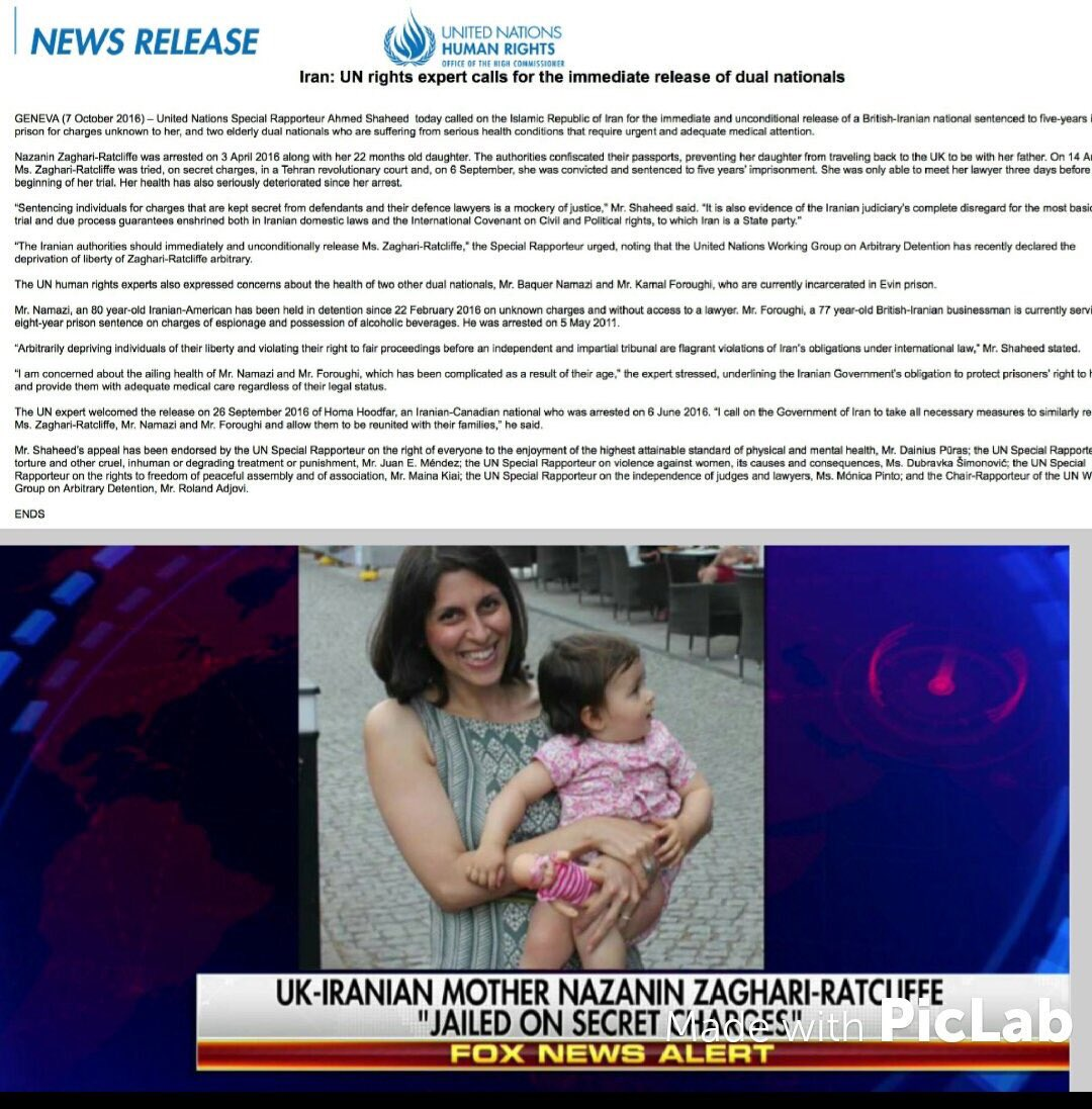 #FreeNazanin #UN Expert called on #Iran to #FreeNazanin Ratcliffe many months ago. Why hasn&#39;t @theresa_may backed the UNs call @thomasbrake<br>http://pic.twitter.com/rHHnkRUFzu