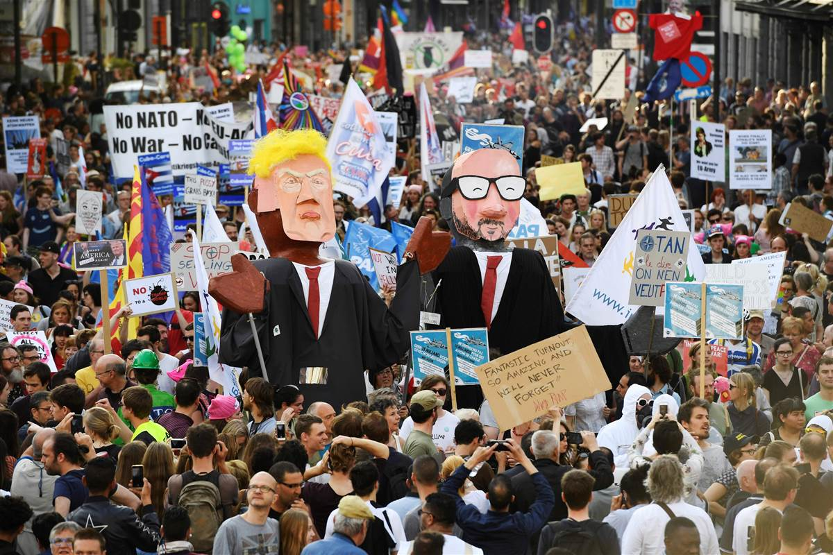 Thousands march against President Trump in Brussels: 'He is not welcome here' https://t.co/Gi9LuHC7vY