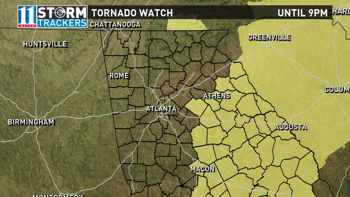 Tornado watch in east GA extended until 9pm. Roughly from Athens to Macon eastward. #11Alive