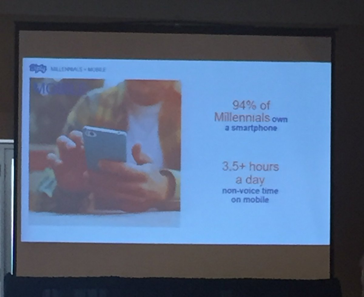 Interesting stat by @Diply: Millennials spend 3.5 hrs a day non-voice time on mobile #mobilemarketing @SophieVu415<br>http://pic.twitter.com/enOr7yayDg