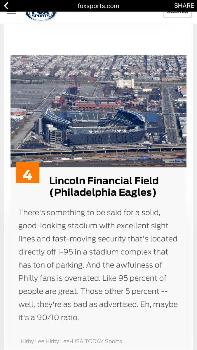 Fox sports ranks the Linc the 4th best stadium in the #NFL behind arrowhead, centurylink and lambeau @4thandJawn #Eagles <br>http://pic.twitter.com/9HlI5wvetJ