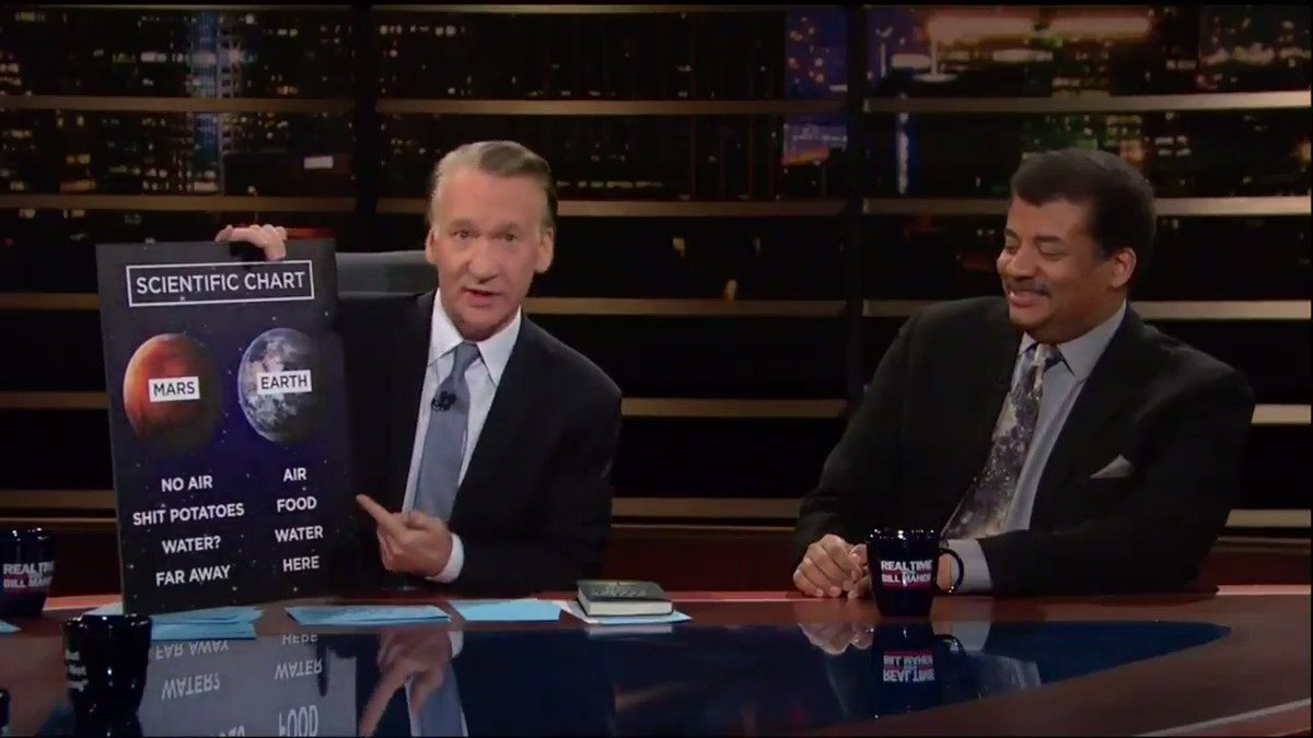Watch @BillMaher and @NeilTyson get real about Mars on #RealTime: http...