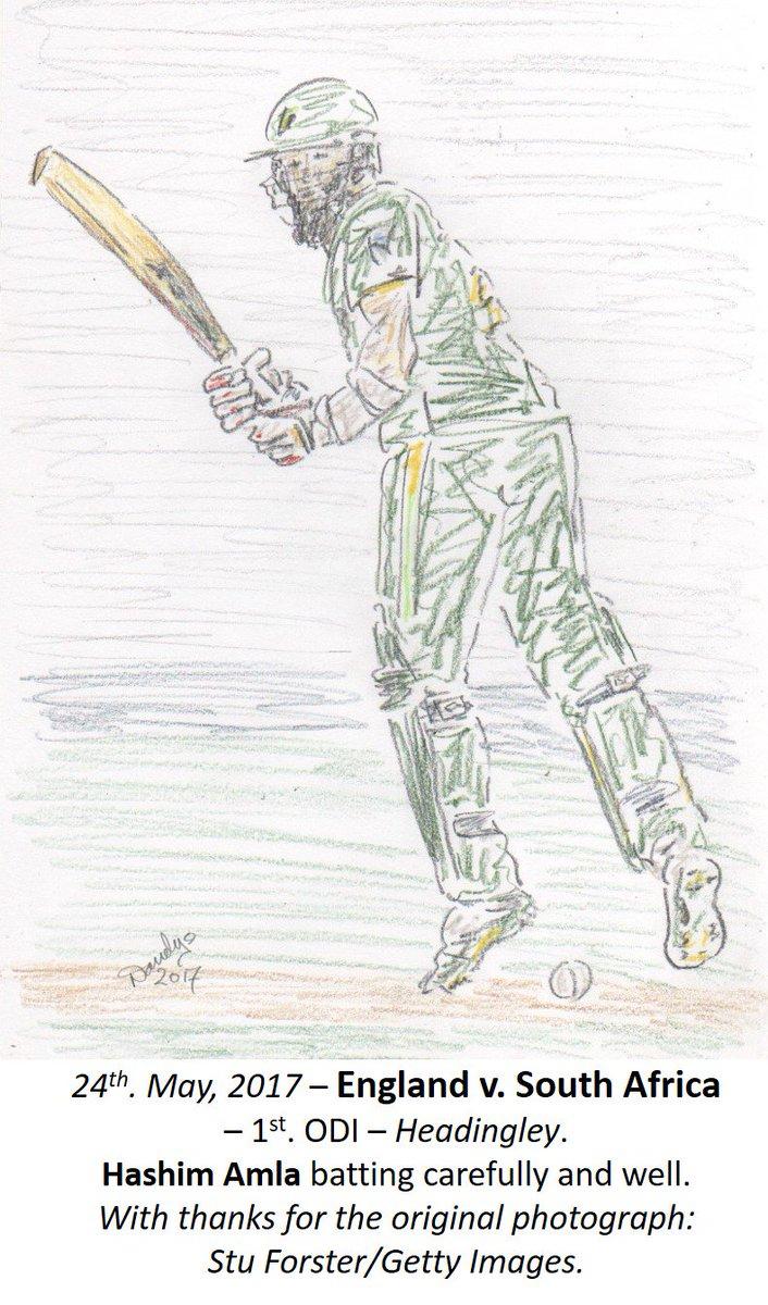 Today&#39;s 4th &#39;live&#39; #sketch - Hashim Amla batting well #ENGvSA @guerillacricket @Sofa_Katie @abdulhayemehta @guerillahendo #ENGvsSA #drawing<br>http://pic.twitter.com/3Z0jwwYmu0