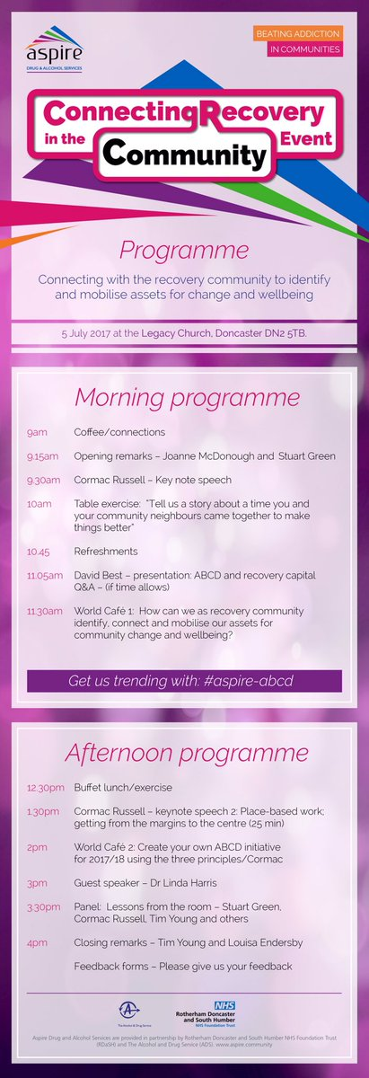 Final line up for #aspire-abcd #Doncasterisgreat #barnsleyisbrill #sheffieldissuper for our fantastic #recovery event @Aspire_Recovery<br>http://pic.twitter.com/556Of5ImfC