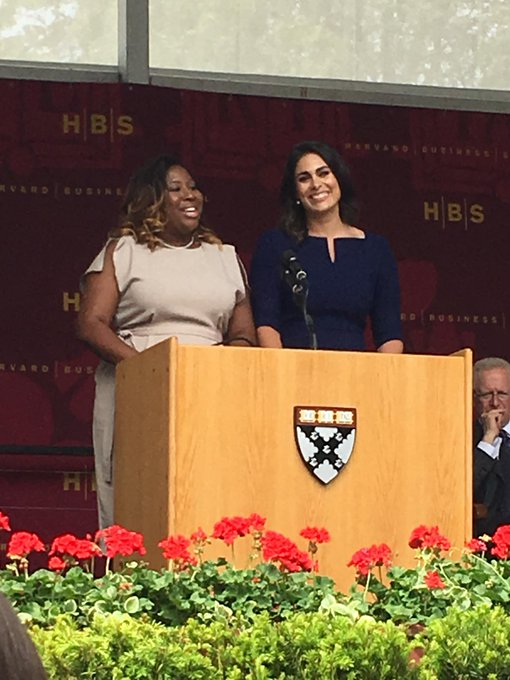 Class Co-presidents LaToya Marc and Libby Leffler, the first team of female presidents in HBS history, address their classmates #hbs2017
