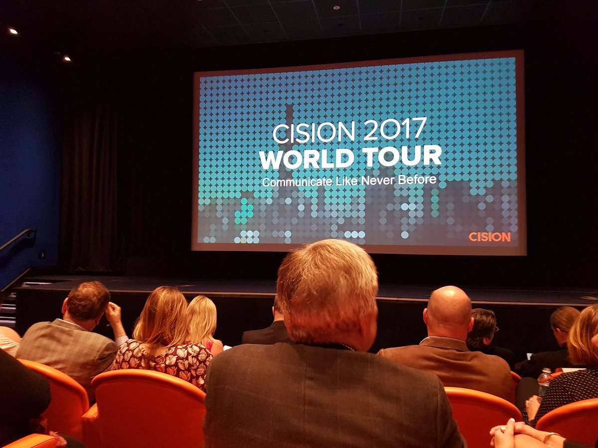 Impressive, @Cision. Even the chairs are on brand... and full! #CisionWorldTour #NYC #PR #Measurement<br>http://pic.twitter.com/g9C8NWKZuI