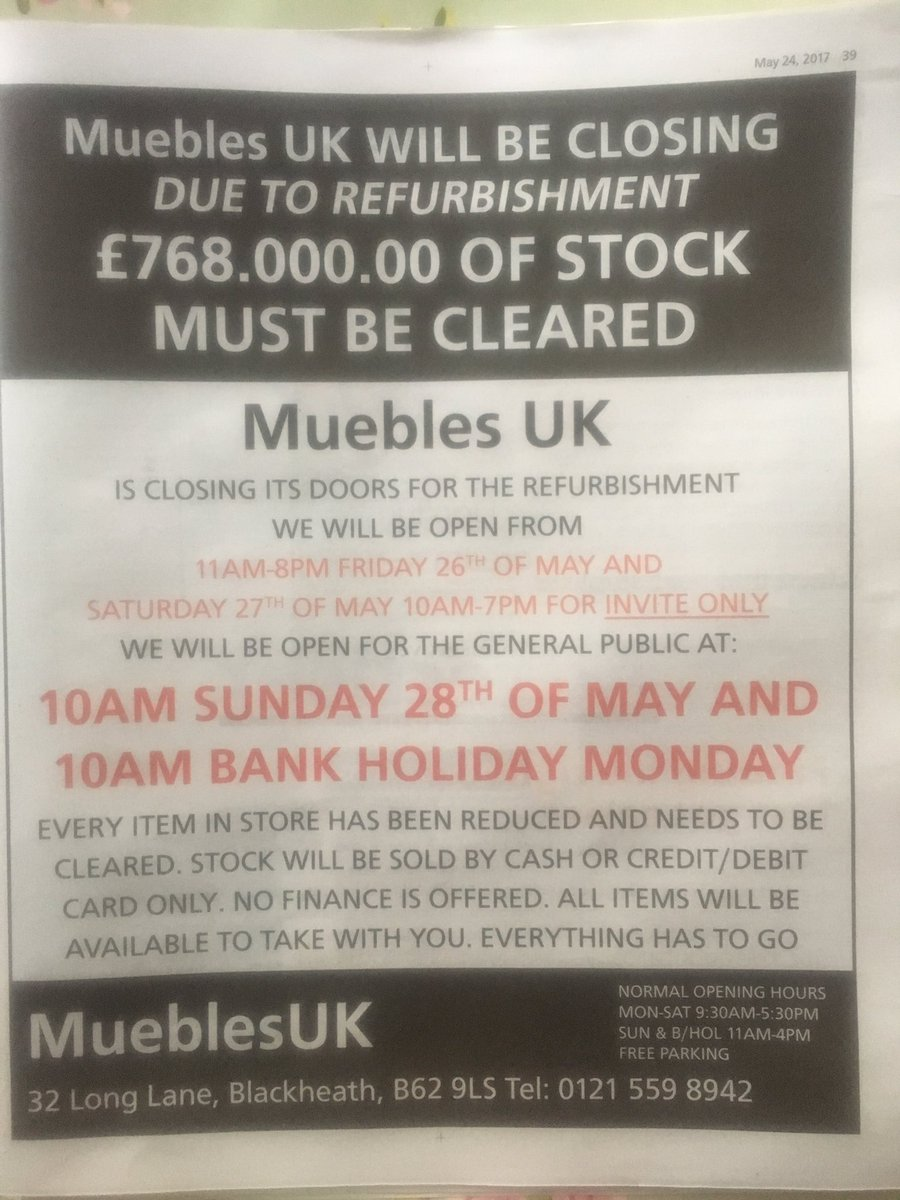 Paul Bennison On Twitter Wonderful Full Page Ad In  # Muebles Long Lane