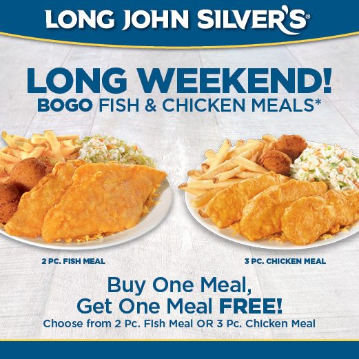 Long John silvers has a great deal going on. No coupon needed. Long John Silvers $10 family pack -- 8 pc Fish or chicken, 12 hush puppies, and cole slaw (or any other large side). I was able to swa.