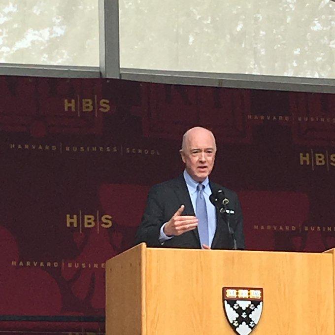Class Day Keynote Speaker David Bradley addresses #HBS2017