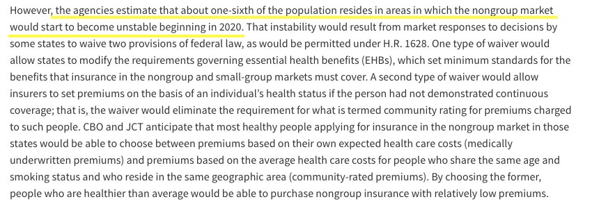 Quite a paragraph in the CBO report - expects law would greatly destabilize insurance markets.
