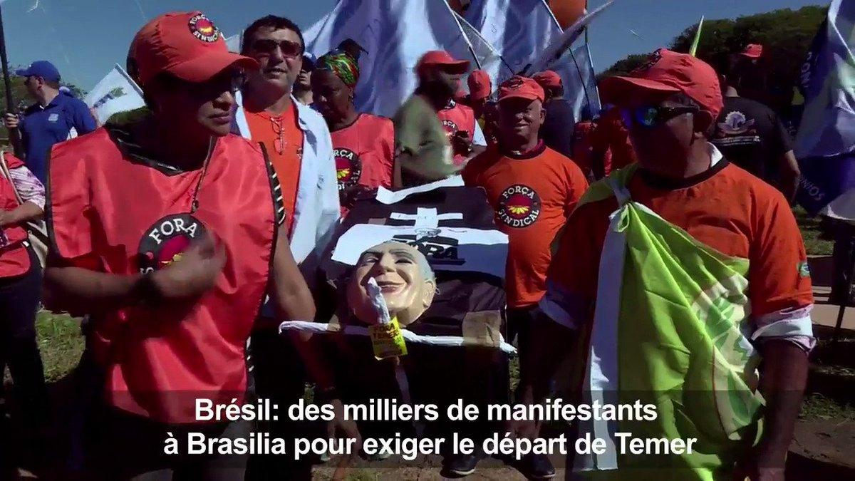 Des milliers de manifestants dans la rue à Brasilia pour exiger le départ du président Temer #AFP