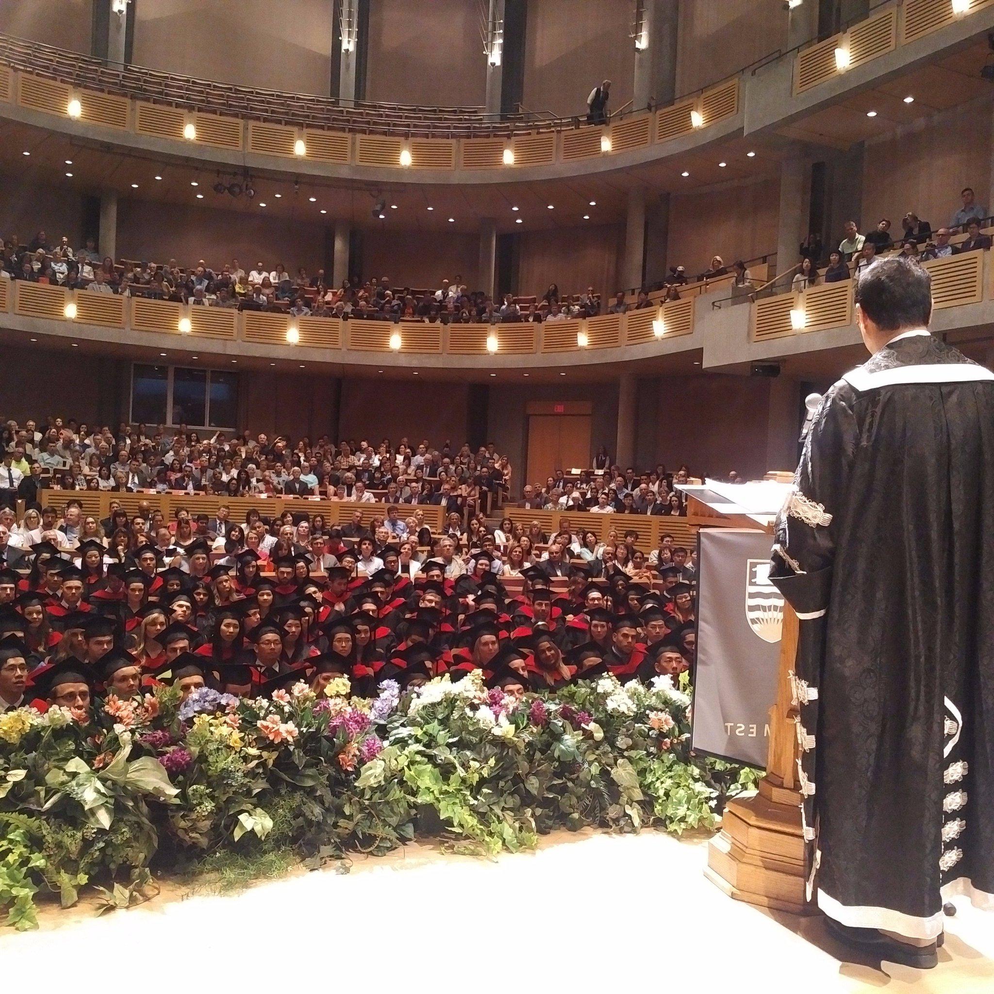 View from the President's podium. @ubcprez gives inspiring speech to @UBC graduates today @UBCmedicine #UBCGrad #UBclassof2017 #UBCFOM2017 https://t.co/RH71nshTj7