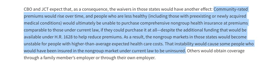 Key point from the CBO as it concerns people w pre-existing conditions: insurance may get too expensive, kicking them out of the markets.