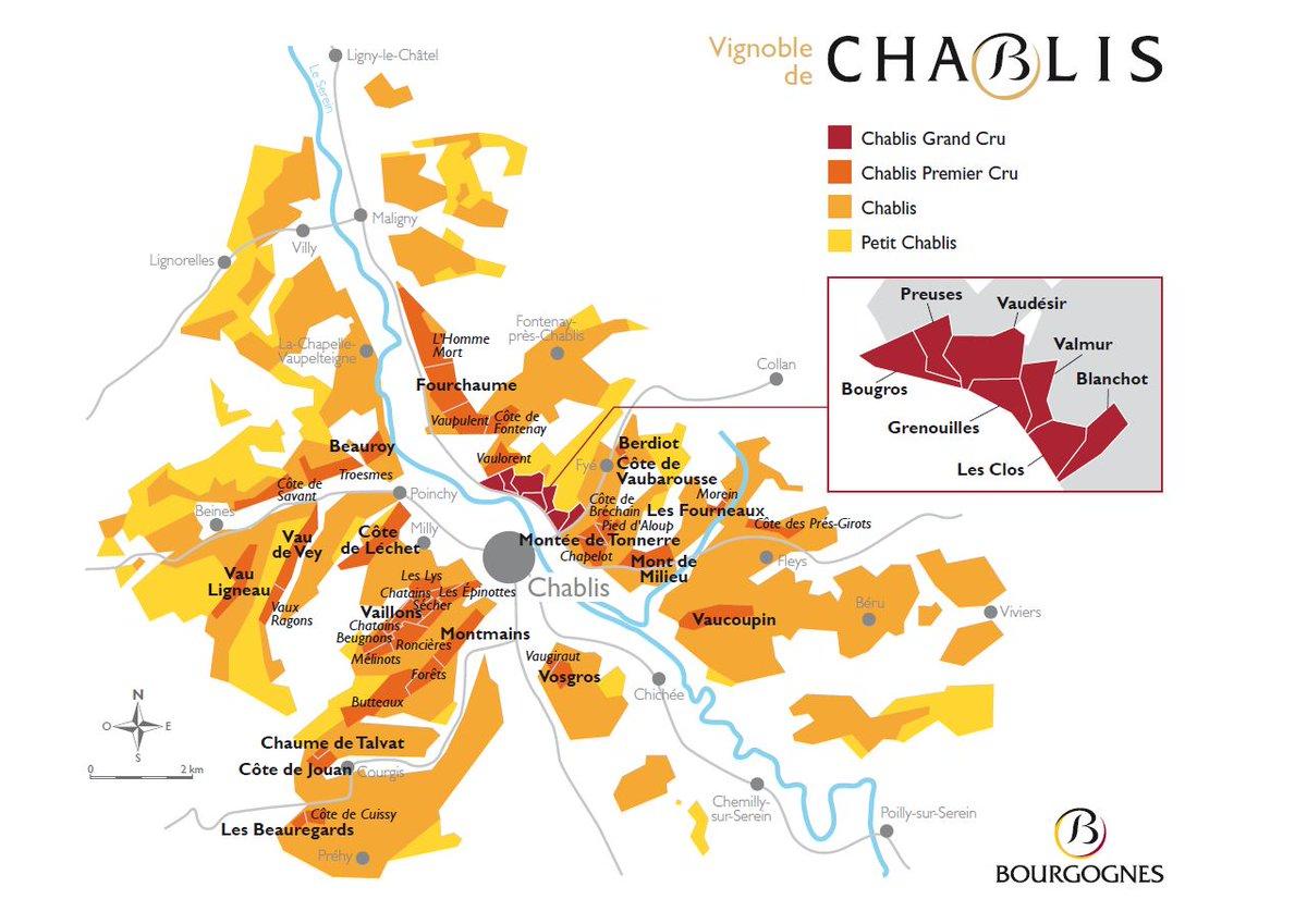 Виноградники Шабли на карте