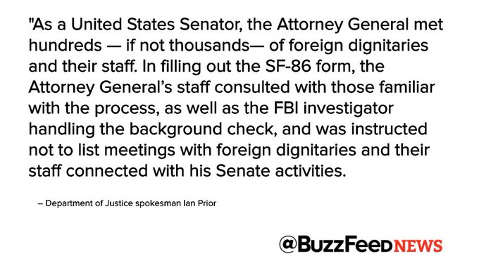 Attorney General Jeff Sessions did not disclose Russia meetings on security clearance form https://t.co/zJcTqyagcJ
