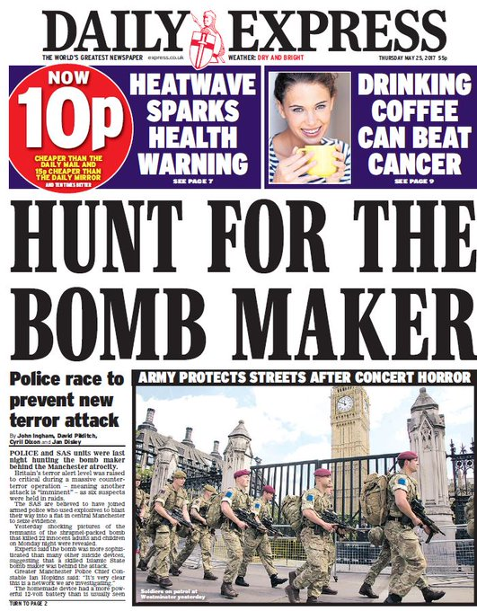 DAILY EXPRESS FRONT PAGE: 'Hunt for the bomb maker' #skypapers