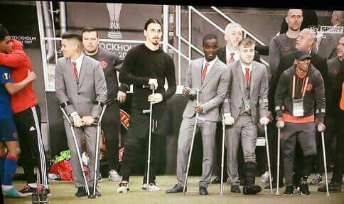 New #DrHouse casting? No, just #ManchesterUnited injured team!   #MUFC #EuropaLeagueWinners #Zlatan #Ibrahimovic #ManUnited<br>http://pic.twitter.com/F8Z9QygGCa