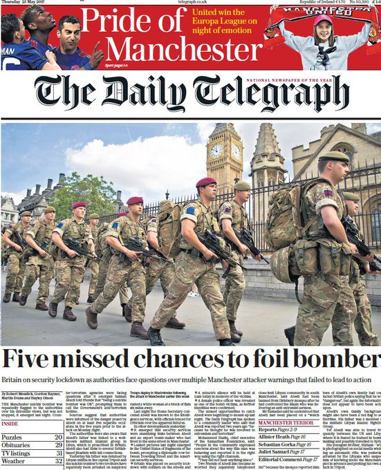 DAILY TELEGRAPH FRONT PAGE: 'Five missed chances to foil bomber' #skypapers