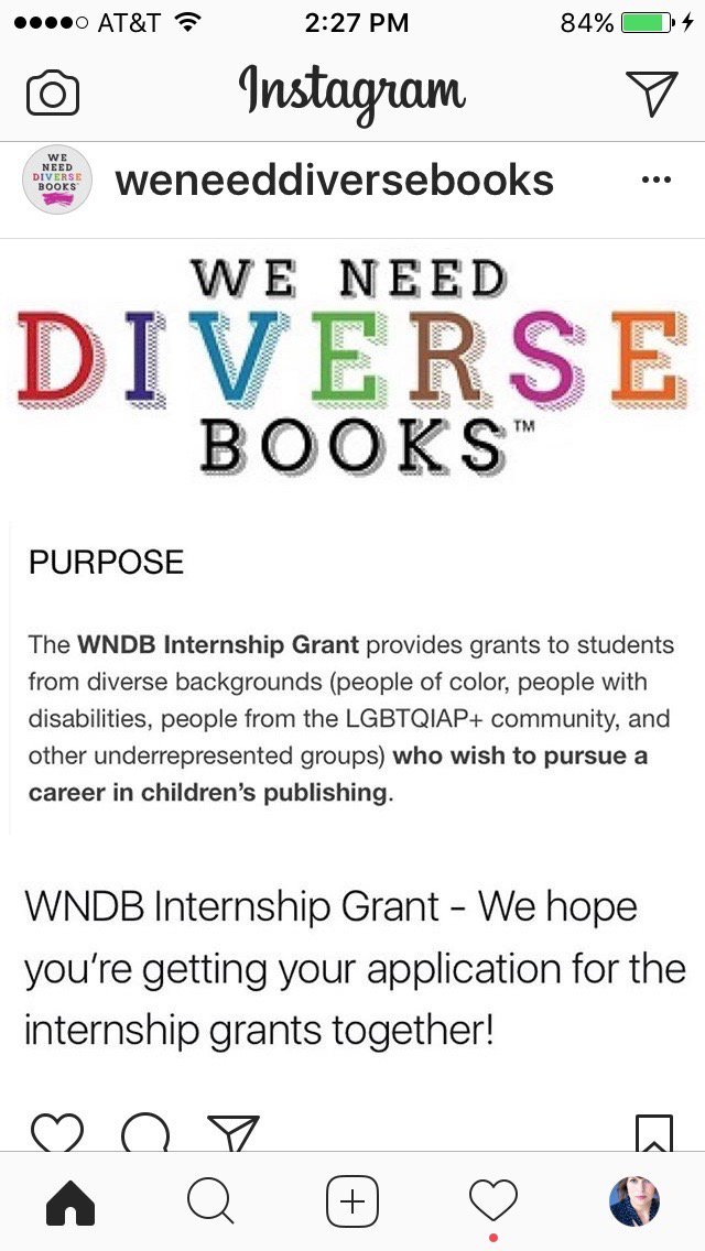 I adore the @weneeddiversebooks internship grants and I think you should apply. Yes, YOU.  Deadline May 31. https://t.co/qLLZuTRlPv