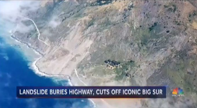 Massive landslide covers the famous Hwy. 1 at California's Big Sur.  @Miguelnbc reports now on @NBCNightlyNews.