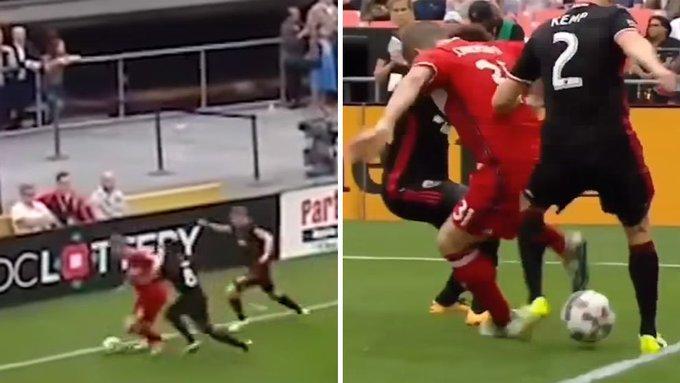 Schweinsteiger mejora a Benzema 'burreando' a tres rivales en la línea de fondo. Dentro vídeo ▶ https://t.co/5ksa0UQo3s
