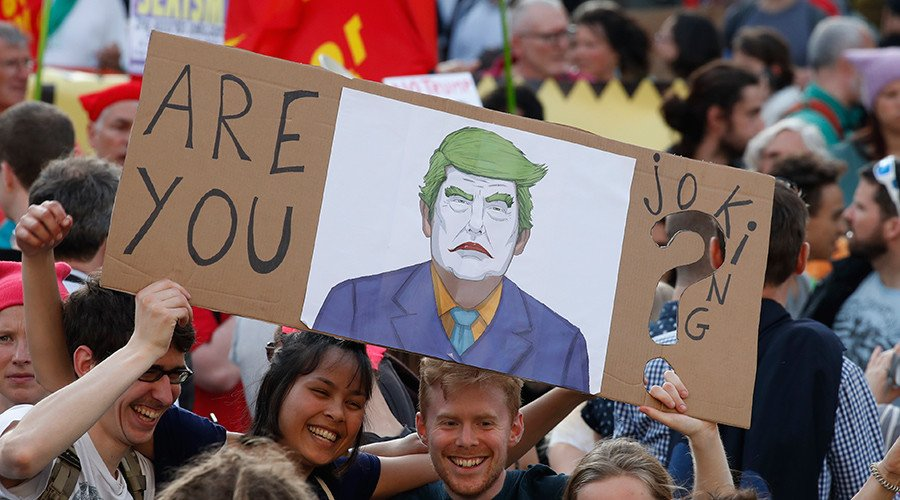 '#Trump not Welcome': Thousands protest US President's visit ahead of #NATO summit in #Brussels https://t.co/EiclBUKbVS