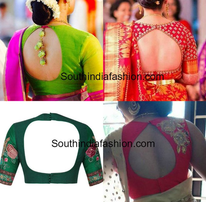 Blouse Back Neck Designs for Silk Sarees • South India Fashion