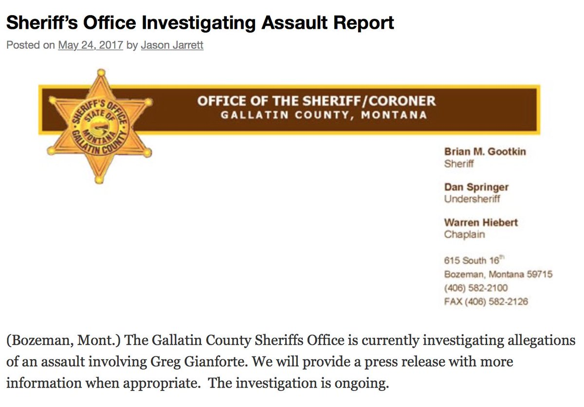 Gallatin County Sheriff's Office confirms it is investigating allegations of an assault involving congressional candidate Greg Gianforte: