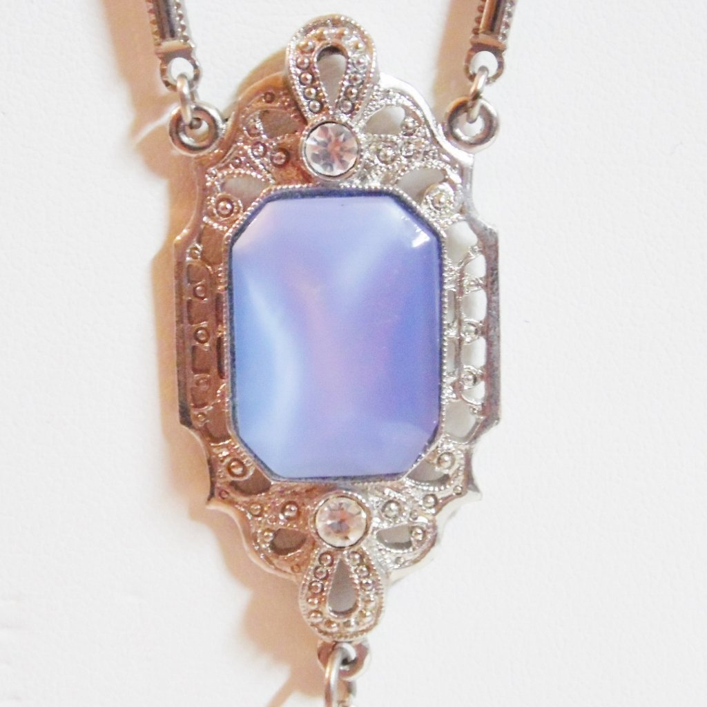 1928 Brand Art #Deco Style #Necklace, Crystal, Moon-glow Glass, Rhinestone  https:// goo.gl/1gM5yo  &nbsp;   #blue #vintage #jewelry  #ebay @ebay<br>http://pic.twitter.com/ltTDl4Lcdz