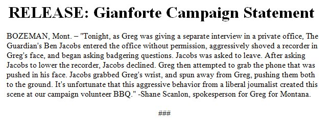 JUST IN: Montana GOP Congressional candidate Greg Gianforte releases statement on altercation at campaign evenhttps://t.co/soAsCv8Z7ft