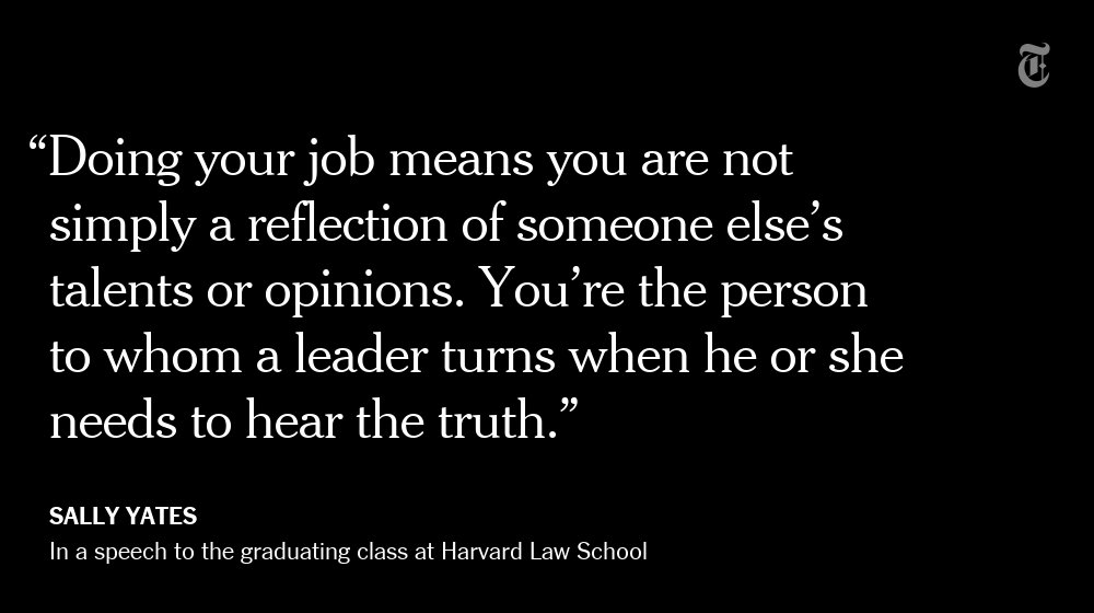 In a fierce, sometimes personal speech, Sally Yates tells Harvard students why she defied Trump https://t.co/AJB6vImlEb