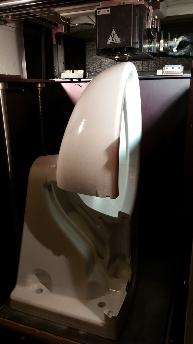 One of my favorite #3DPrinting pics, yes, it&#39;s a full size #3DPrinted Wall Mount #Toilet made with #ABSthermoplastic<br>http://pic.twitter.com/eoRHmAlAbB
