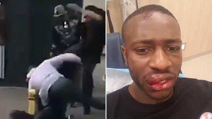 #LoMásVisto Brutal patada en la cabeza de un jugador del City a un hombre en una pelea callejera ▶ https://t.co/vBrqUB0ymZ