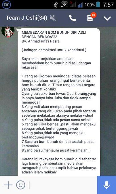 Capture pesan berantai yang sebut Bom Kampung Melayu palsu