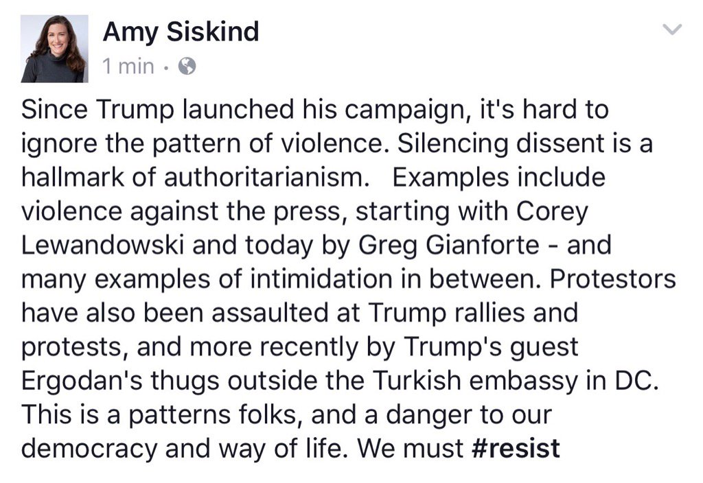 Today\'s assault by Greg Gianforte is part of a pattern against the media and protestors under Trump.