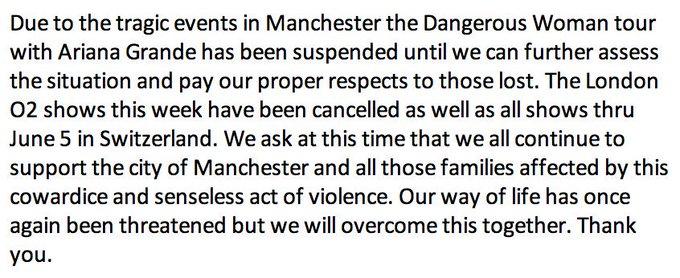Ariana Grande suspends 'Dangerous Woman' world tour through June 5, singer's management team says. https://t.co/1O0YiZO89O