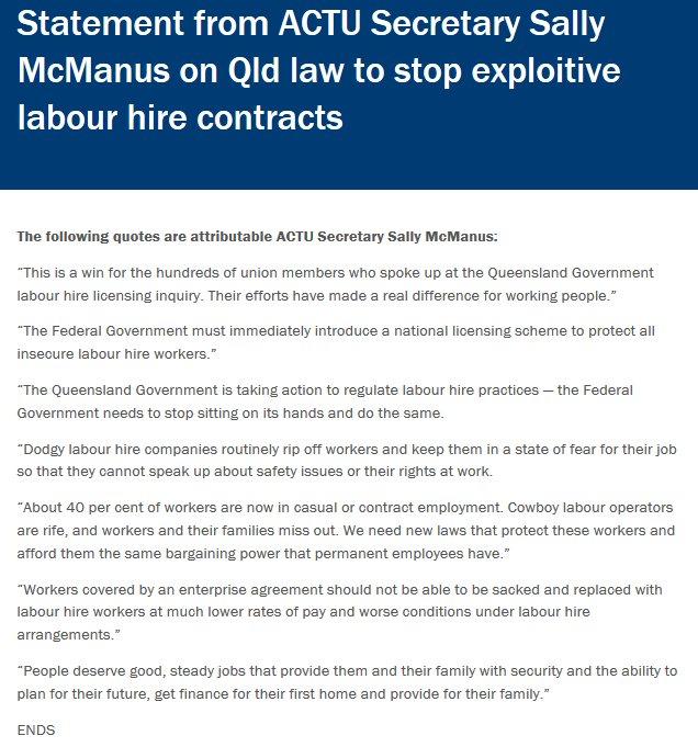 Australian Unions On Twitter Actu Media Releasestatement From