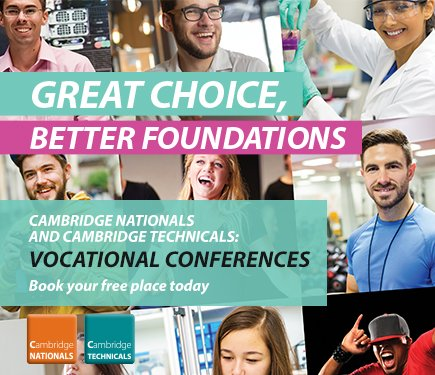 Cambridge Nationals, NEW #Greatchoice, Enterprise &amp; Marketing qual, Learn more at the #Vocational Summer Conf  http:// ow.ly/gJos30bVvEZ  &nbsp;  <br>http://pic.twitter.com/VKB2f7RwKX