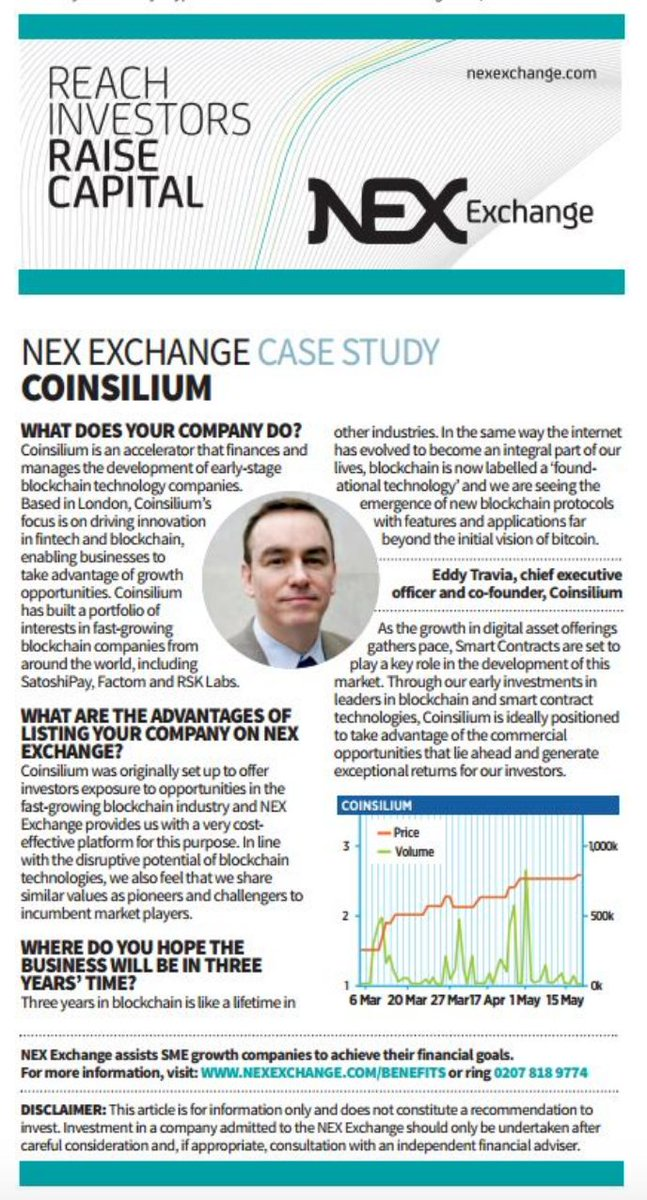 .@CoinsiliumGroup featured in @CityAM #London in @NEX_Exchange Case Study #blockchain #stocks <br>http://pic.twitter.com/PGCp7sLZIy