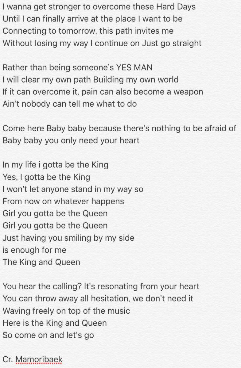 [英訳] English translation for King and Queen by #EXO-CBX! Why do the lyrics remind me of an anime? #cbx <br>http://pic.twitter.com/pXfjpafY8j