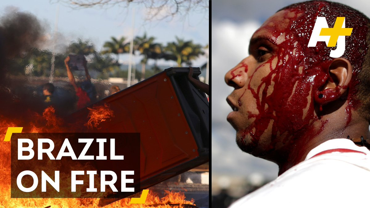 Protesters demanding their president step down started fires and destroyed buildings in the capital of Brazil.